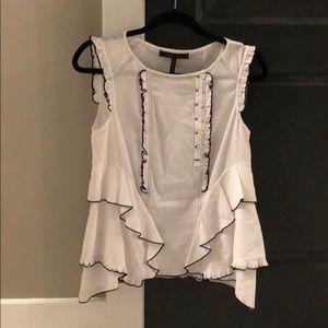 BCBG white sleeveless top